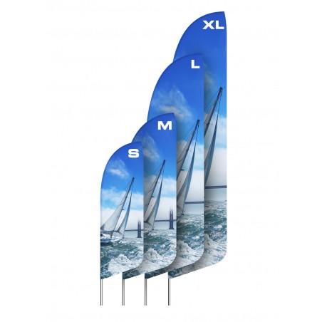 Flaga plażowa kształt A rozmiar XL 455cm, różne kształty i podstawy