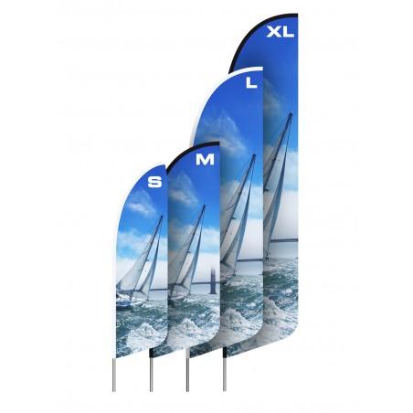 Flaga plażowa HS z tunelem z taśmy wzmacniającej czarnej, kształt A, rozmiar L 392cm, różne kształty i podstawy