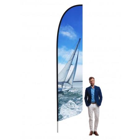 Flaga plażowa HS z tunelem z taśmy wzmacniającej czarnej, kształt A, rozmiar XL 456cm, różne kształty i podstawy